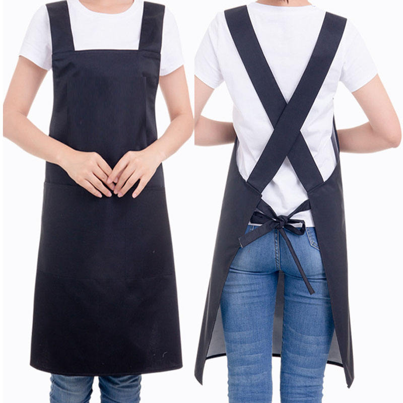 Denim Chef Apron with Pockets Durable Apron for Women Men Modern Design Suitable for Kitchen Apron,Cooking Apron,Grilling Apron,BBQ Apron,Black Grey AngJi