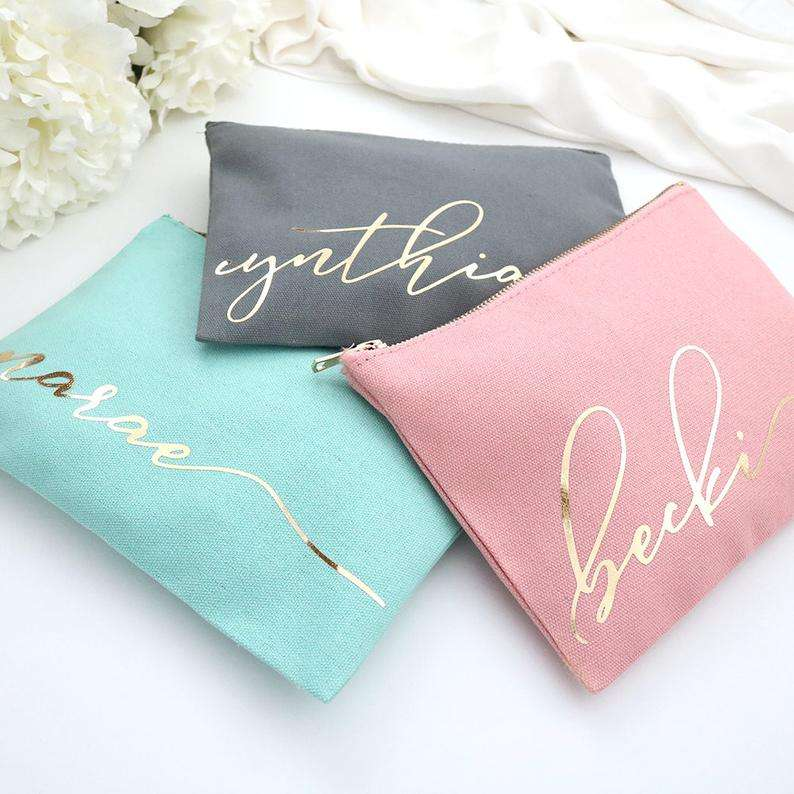 2020 hot sale Promotion custom fashion small beautiful canvas cotton custom make up bag cosmetic bag makeup