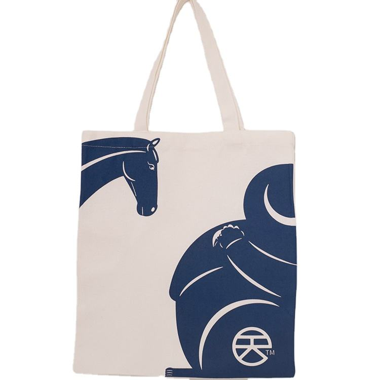 Fashionable Promotional White Cotton Cloth Handled Shopping Cotton Canvas Tote Bag