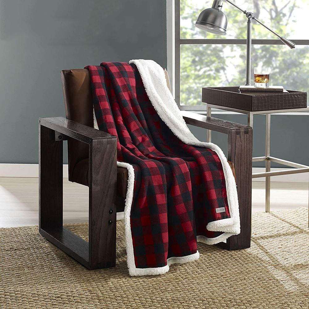 Ready goods printed soft buffalo mink sherpa warm flannel plaid blanket in vogue