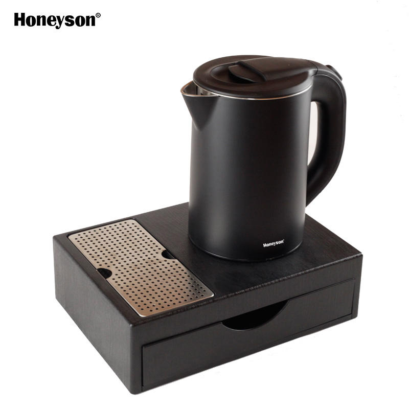 Honeyson electric hotel kettle tray set for room 0.8l