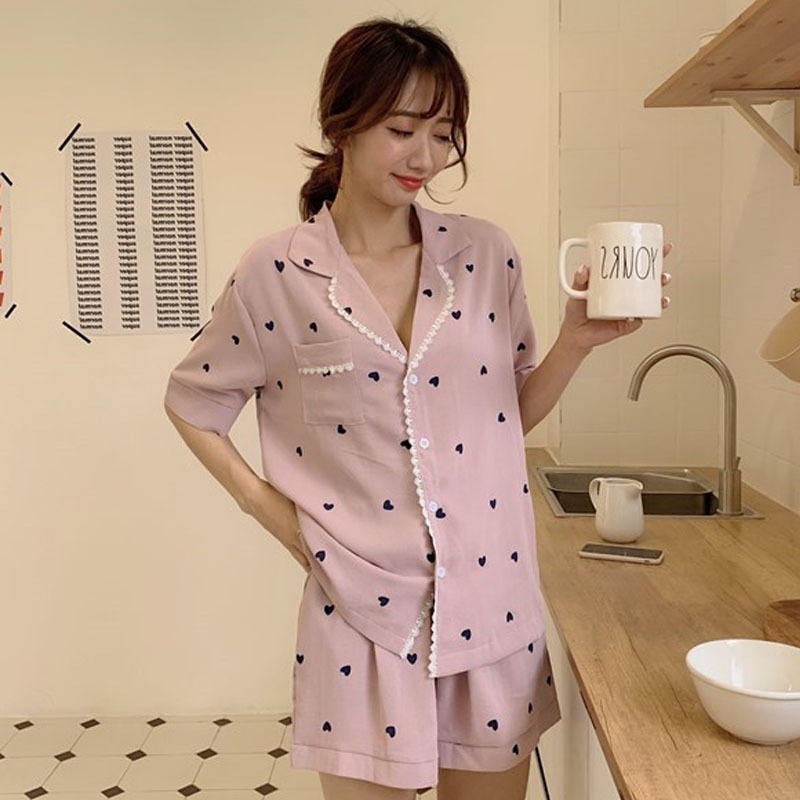 Wholesale production processing summer hot sale casual women short sleeved shorts satin sleepwear pajama set