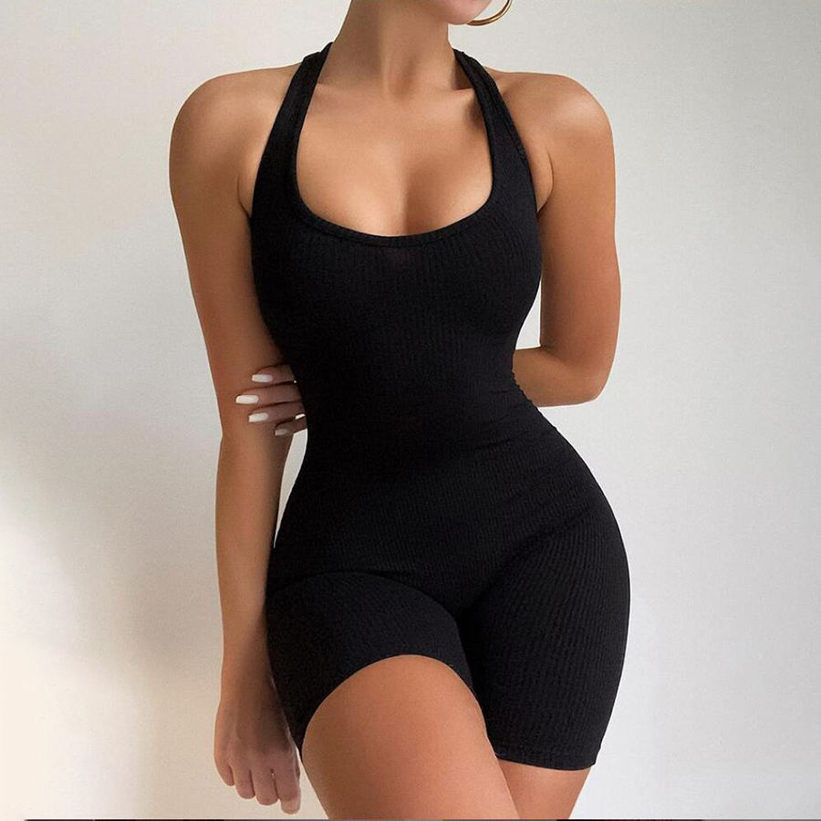Ribbed U-neck Breathable Jumpsuit Sleeveless Knitted High Waist Skinny Sports Yoga Jumpsuit Women's Jumpsuit
