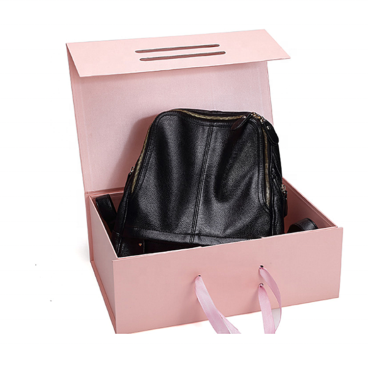 Luxury Custom Logo Matt Pink Rigid Clamshell Packaging Cardboard Plain Shoes Folding Box For Backpack Handbag Magnetic Gift Box