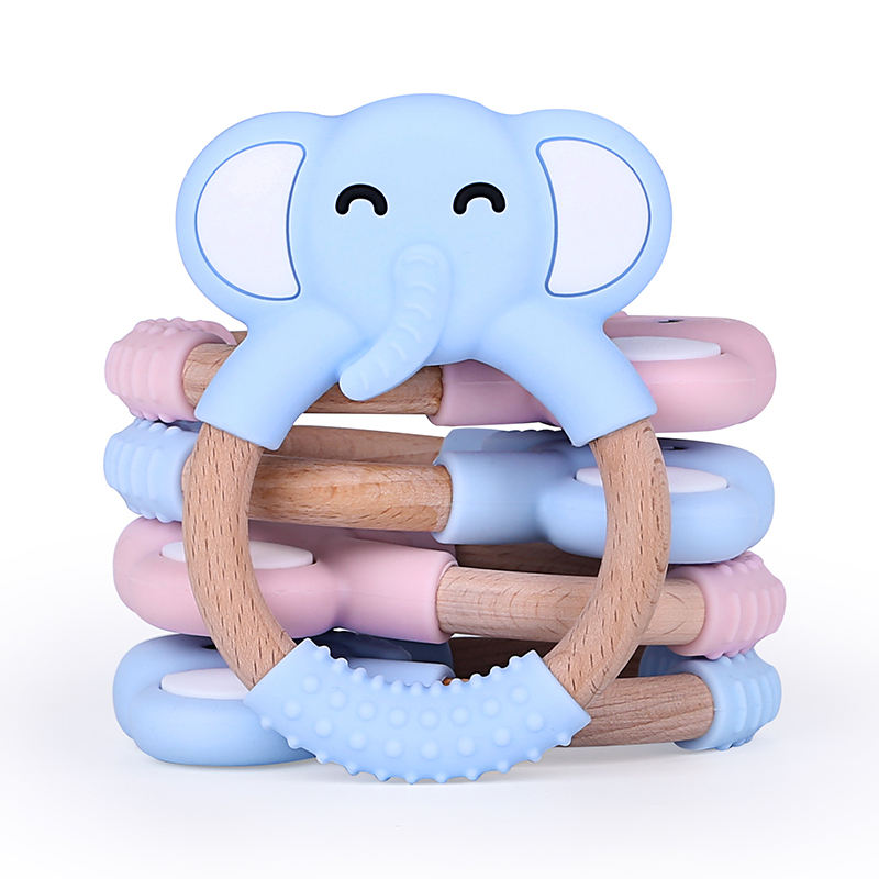 Wholesale Sensory Wooden Teether Silicone Baby Teething Toy Ring