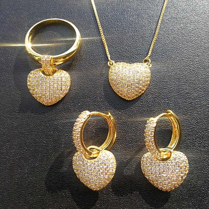 Foxi jewelry gold rani haar designs heart earrings ring jewelry sets