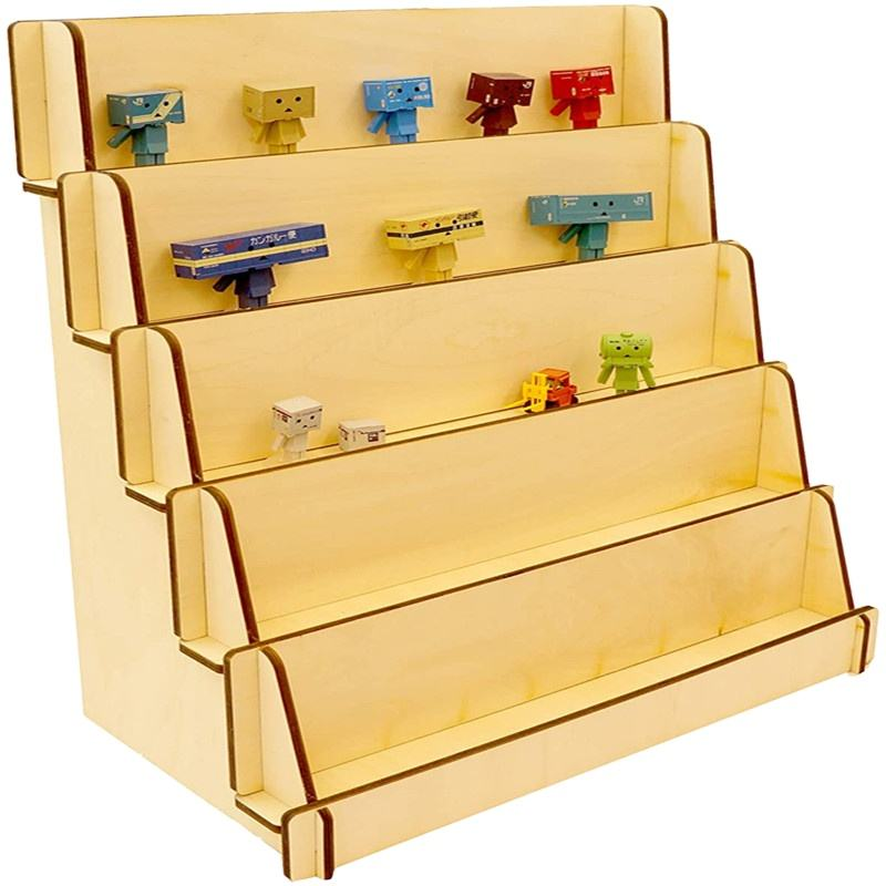 Customizable solid shelves wood 6-layer wooden display rack for photo merchandise