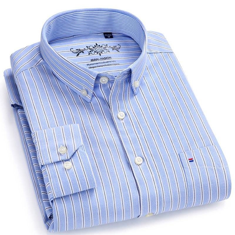 Free Shipping Striped Social Custom Casual Oxford Dress Men's Shirts