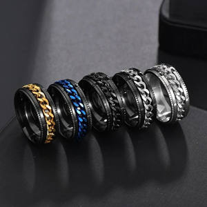 Titanium Stainless Steel Chain Spinner Ring For Men Blue Gold Black Punk Rock Rings Accessories Jewelry Gift R1401