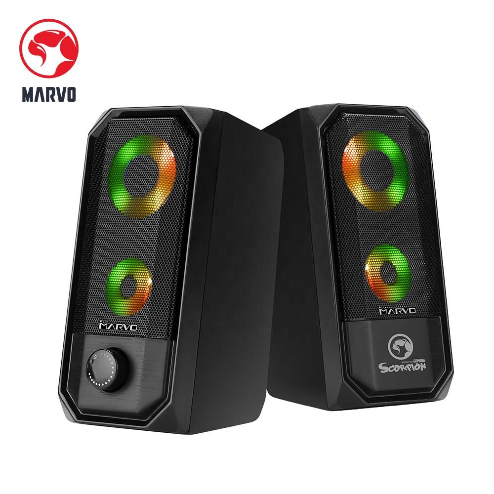 Marvo Touch control stereo speaker 2.0 USB gaming RGB plastic speaker with 7 colors LED light for Computer pc