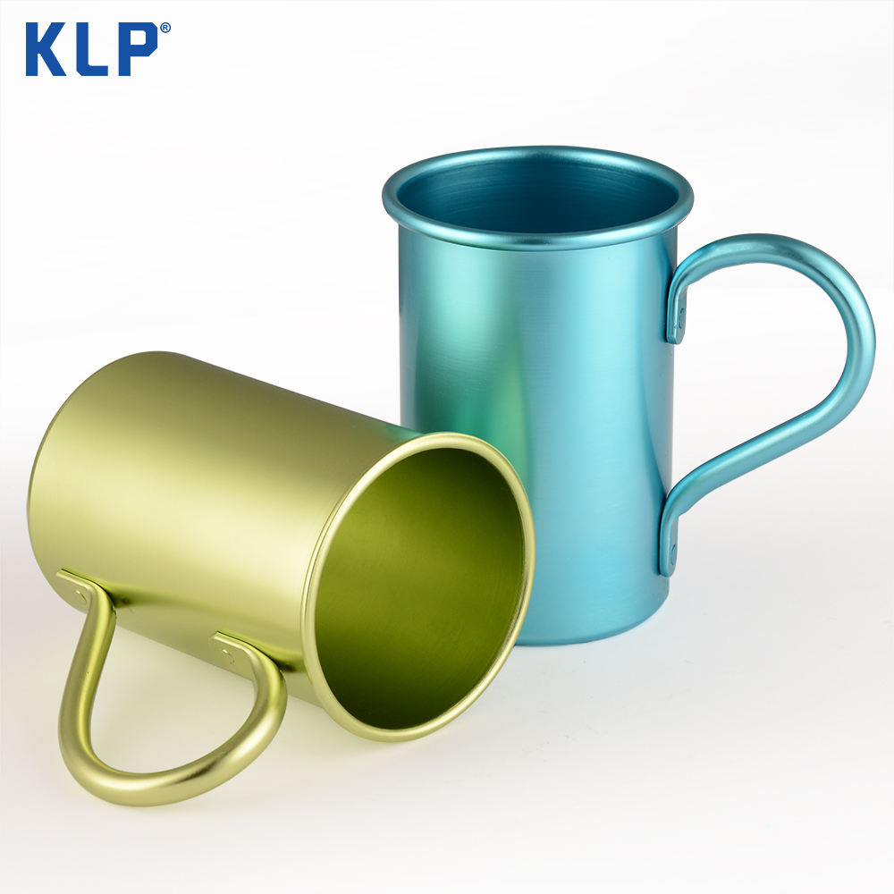 KLP 2019 New Green Aluminum Cups Customized Logo Promotion Beer Drinking Mugs