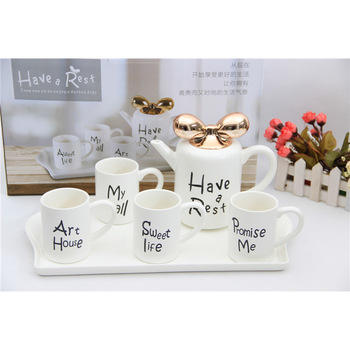 Creative European teacup ceramic water coffee cup tea set Simple home living room cup set with pot tray and bowknot lid