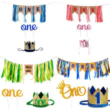 "Baby Boys girl 1St Birthday Party Decorations Including Blue""One"" High Chair Burlap Banner Crown Hat And Glitter Cake Topper"