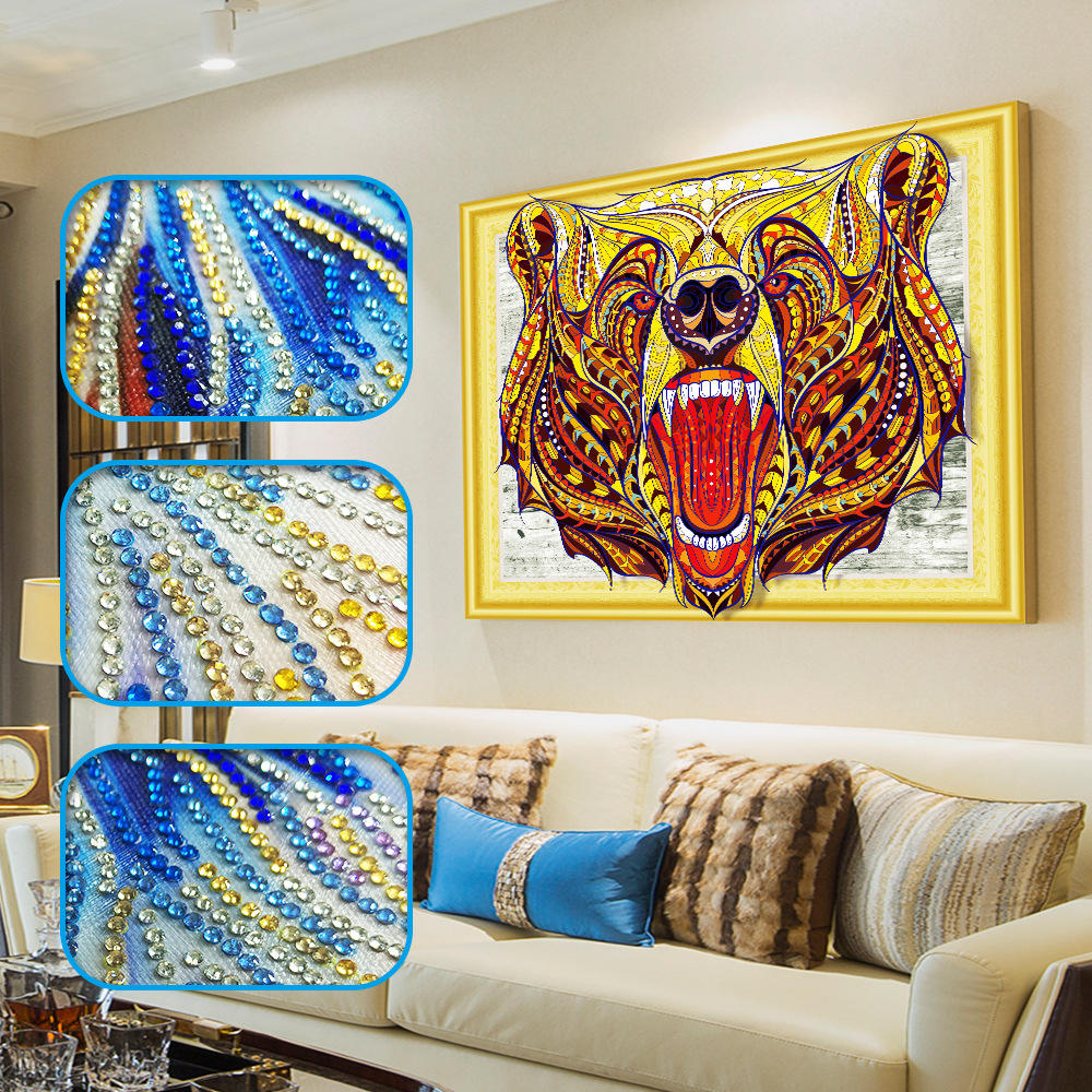 Amazon ebay HOT Selling 40*50cm tiger pattern multi picture 5d full diamond painting