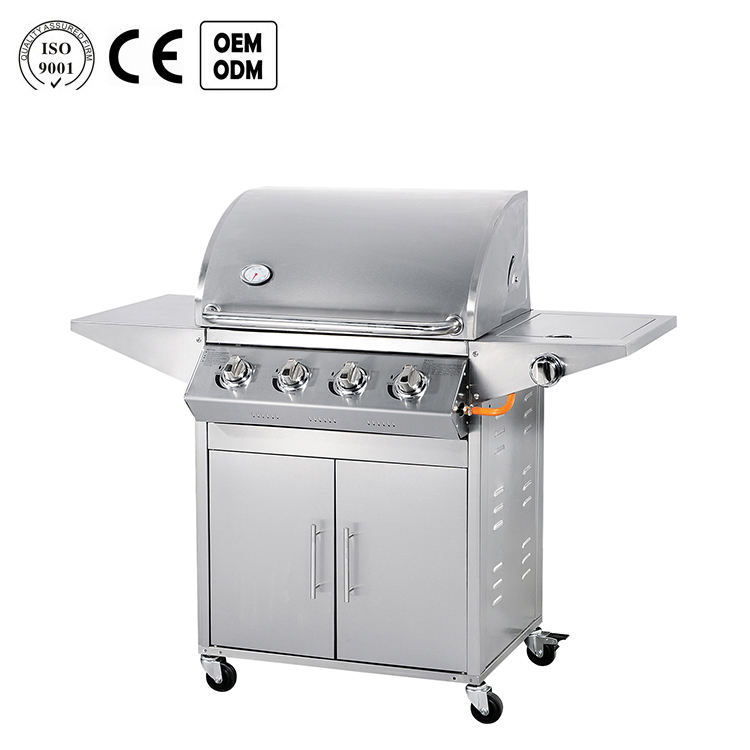 Heavy duty big free standing barbecue machine 4 burners stainless steel japanese bbq gas grill outdoor
