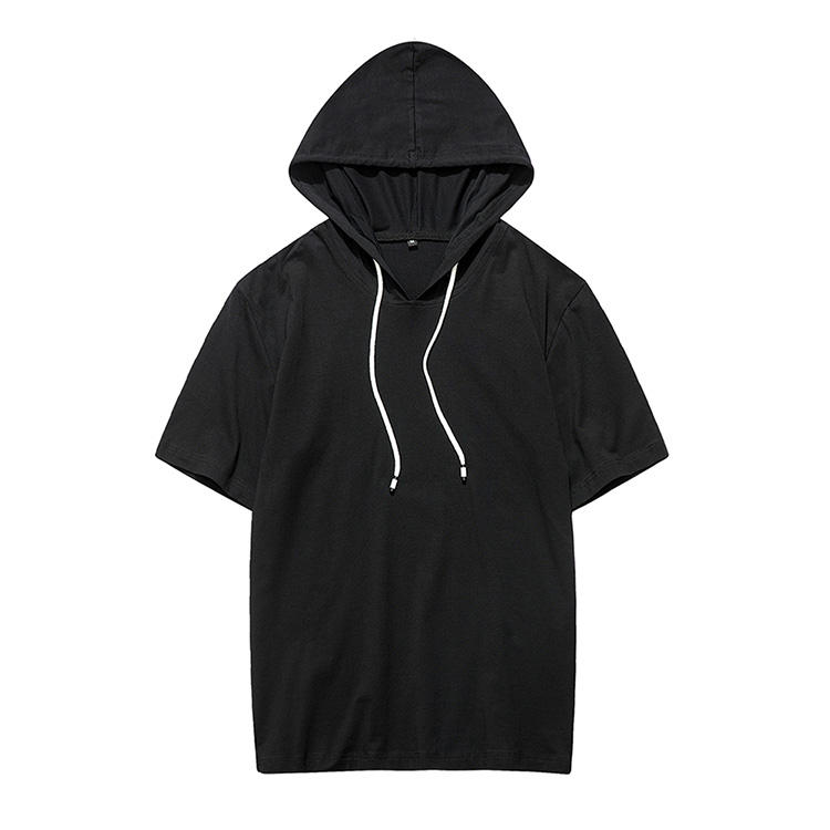 Oem 100% Cotton T Shirt With Hooded Spring Summer Basic Plain Hoodie Tee Shirt