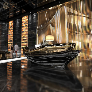 luxury artificial Hotel/hospital/beauty fish style golden metal Reception counter reception desk