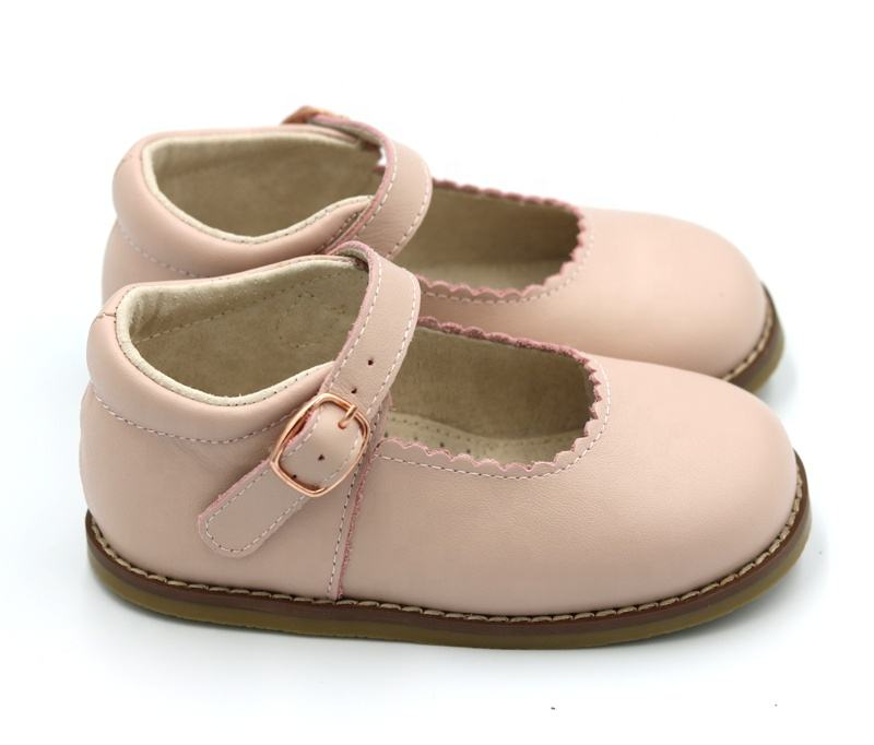 Cute Genuine Leather Buckle Strap Princess Hard Sole Kid Dress Shoes