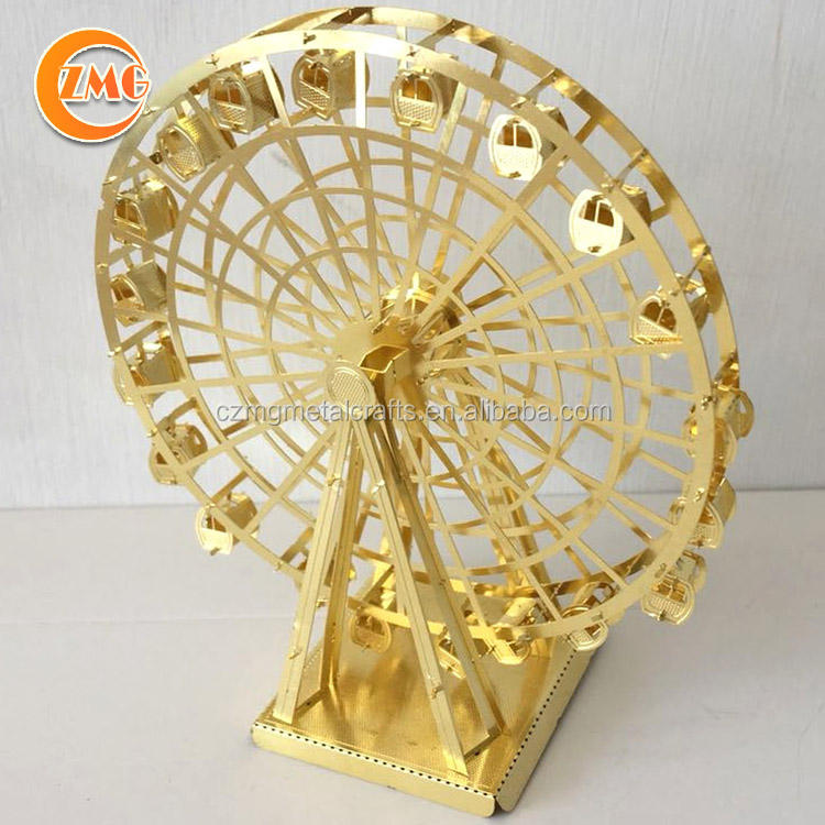 Hot sale golden/silver flat metal pieces DIY 3D ferris wheel mini model