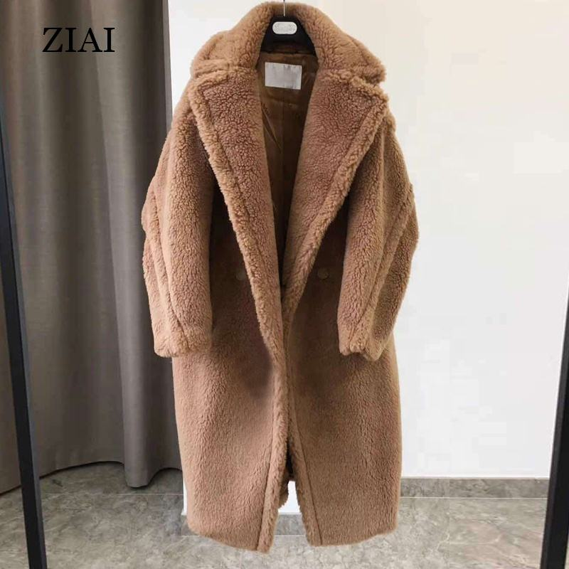 High quality women shearing fur winter coat oversize winter outwear wool overcoat real sheep shearling fur coat teddy coat