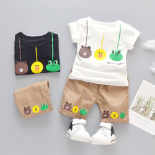 Boys summer casual clothing hot selling children's cartoon T-shirt boy suit children's cheap clothes