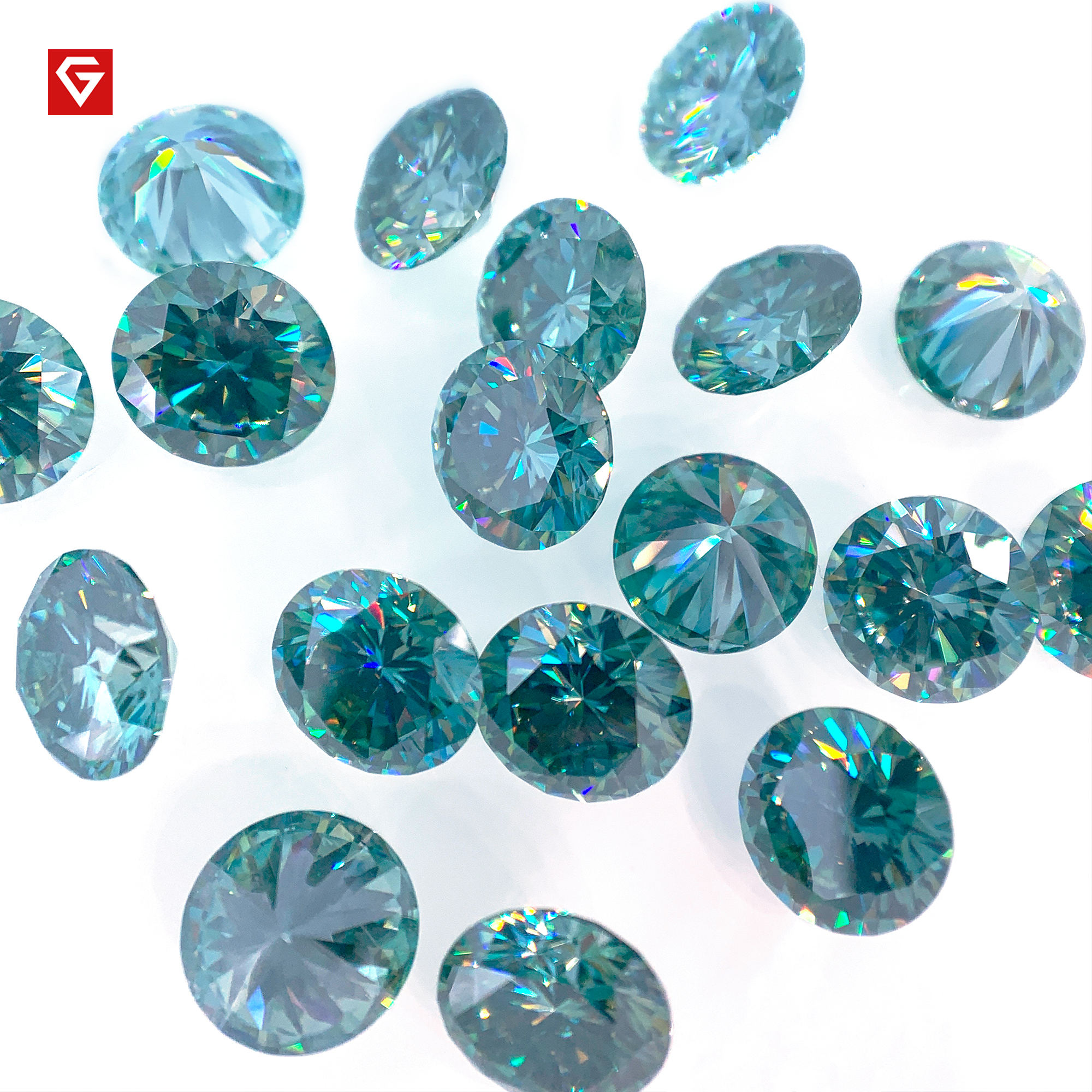GIGAJEWE Wholesales Loose 6.5mm 1ct Round Cut Cyan Blue Green Colored For Making Jewelry Moissanite Diamonds
