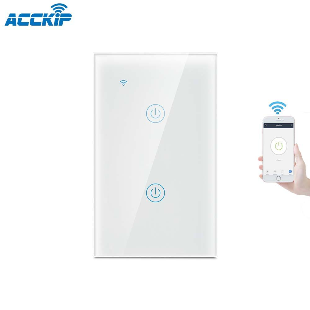 ACCKIP Smart Listrik Rumah Dinding Lampu Dimmer 3 Gang 3 Cara Remote Controller Smart Home Automation Alexa Wifi Switch