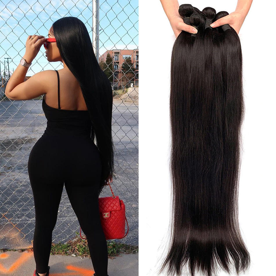 28 30 inches Brazilian Straight Human Hair Bundles Cheap Natural Color Remy Cuticle Aligned Human Hair Weave Bundles Extensions