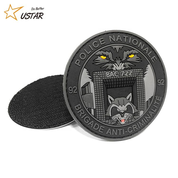 Amazon Supplier Cheap Eco-friendly Stick On Embossed Custom 3D Soft PVC Patch, Custom Military PVC Patches for Clothing