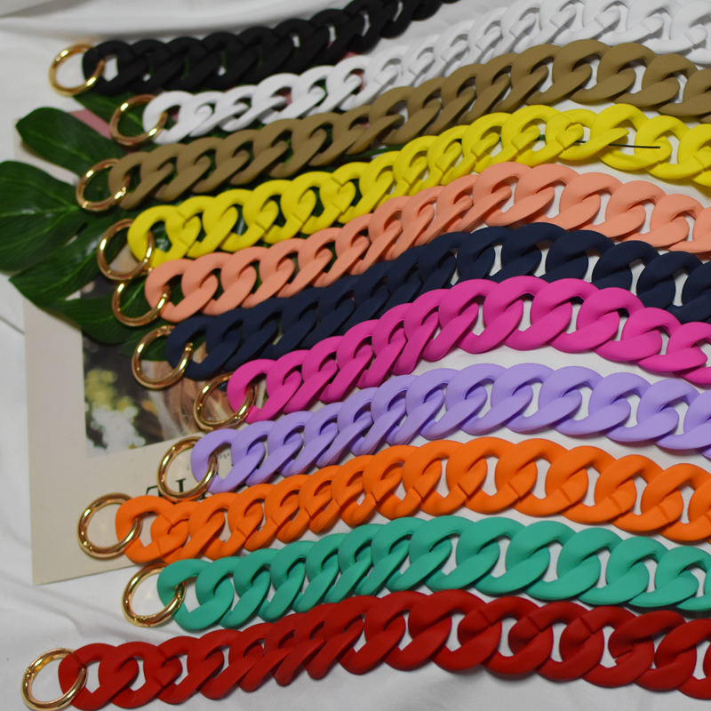 ZONESIN Custom Handbag Accessories Chains Female Matte Colour Plastic Acrylic Resin Chain For Bags