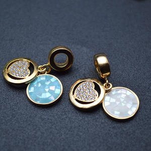 18K Gold palted Double Round Metal Tags CZ Beads paved Heart Charms Various Shell Jewelry Findings