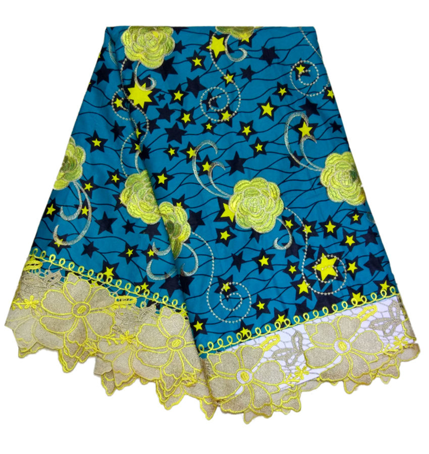 Wholesale fashion good quality veritable Holland Ankara wax with embroidery lace fabric