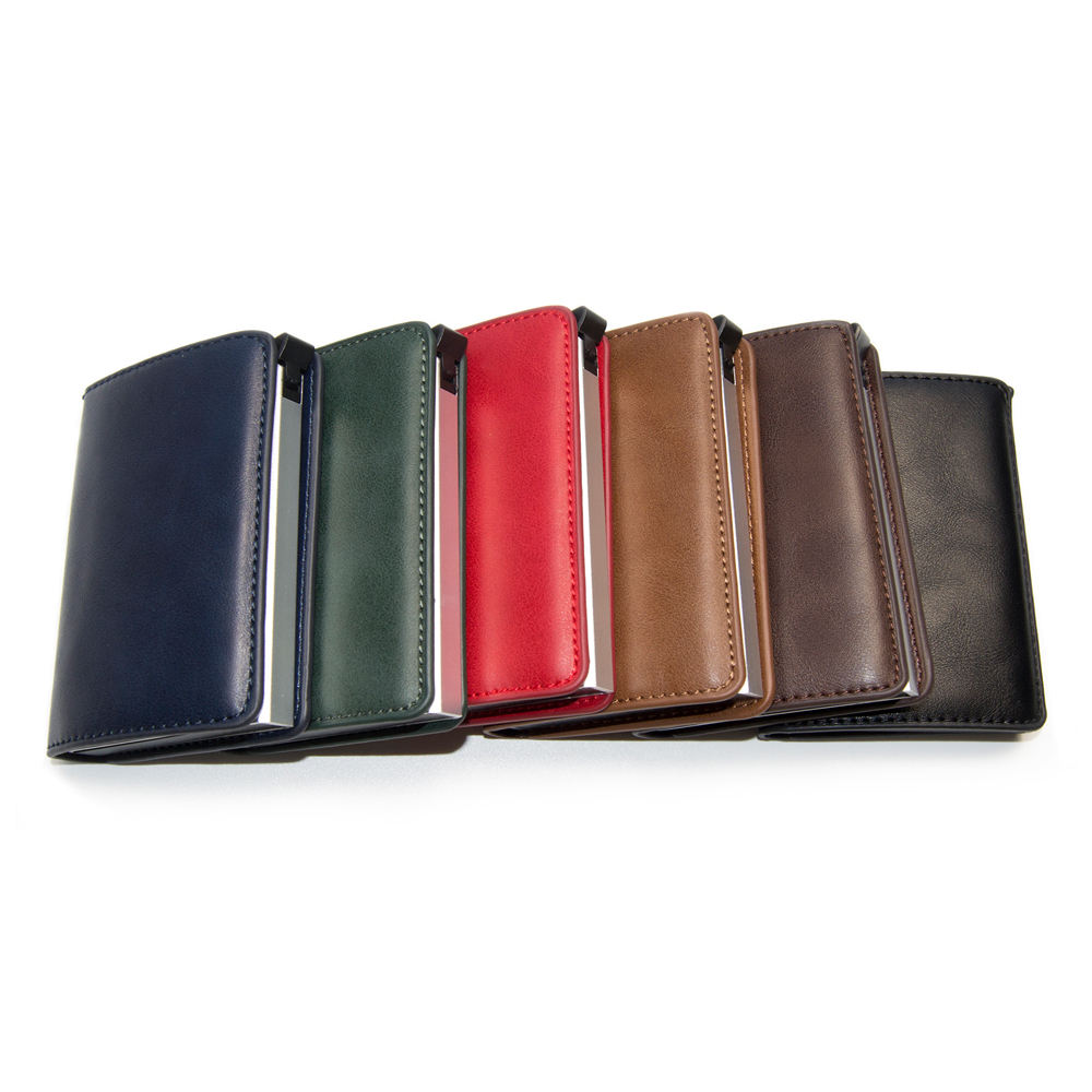 RFID Blocking Aluminum Wallet Pop Up Card Wallet PU Leather Credit Card Holder Men Pocket ID Card Holder