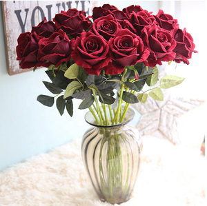 Factory wholesale high quality artificial rose flowers for single red rose flower