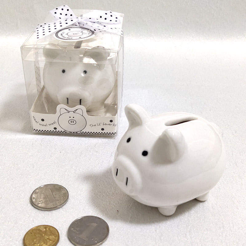 Ywbeyond Ceramic Pig Piggy money saving banks coin box for Christening Gifts and Baby Shower favors Souvenirs