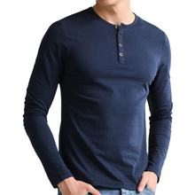Fashionable blue long sleeves button t shirts