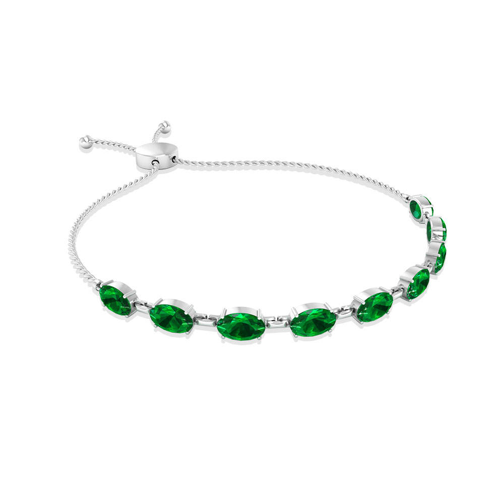 Dainty Emerald Bolo Bracelet, Adjustable Birthstone Link Bracelet, Mother Daughter Tennis Bracelet
