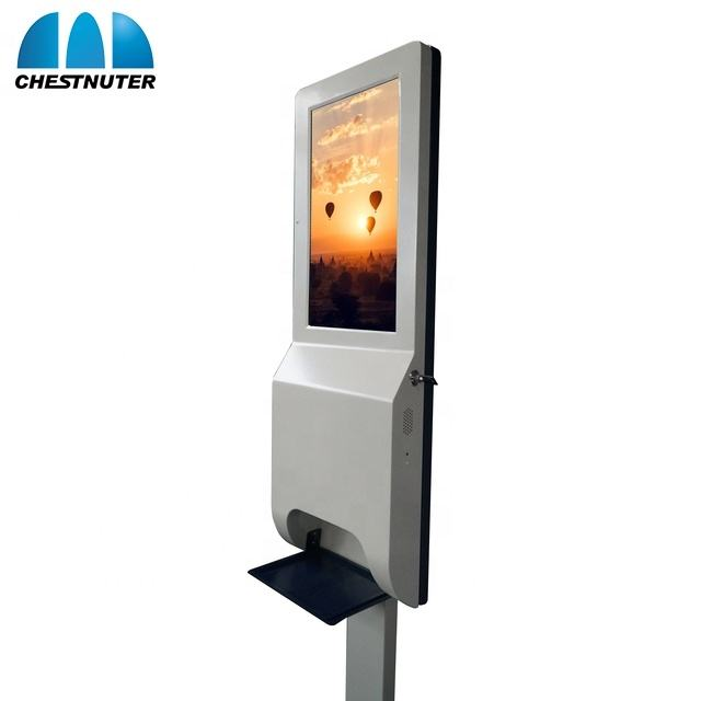 New Model For Auto gel Hand Sanitizers Dispenser Digital Signage screen With Temperature measurement