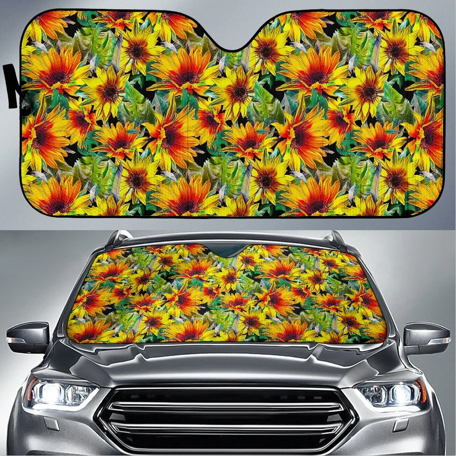 Custom Designed Auto Sun Shade Autumn Sunflower Pattern Print Sunshade Car for Front Window Foldable Wholesale
