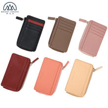 Compact Smooth Full Grain Leather RFID Women Card Holder Wallet with Zipper