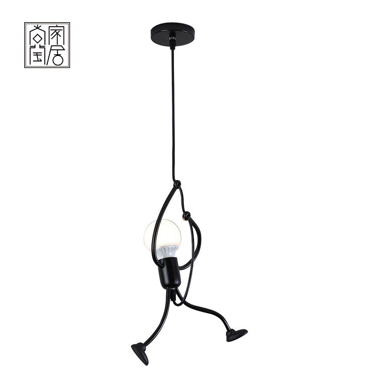 Simple design black minimalist residential home iron small man e27 led chandelier