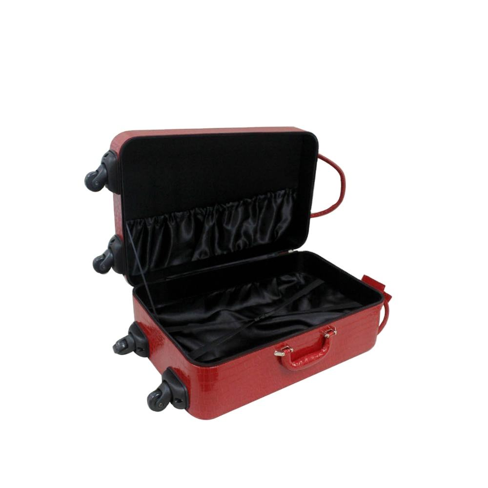 Accepted Customized PU Leather Portable Travel Luggage With Wheel