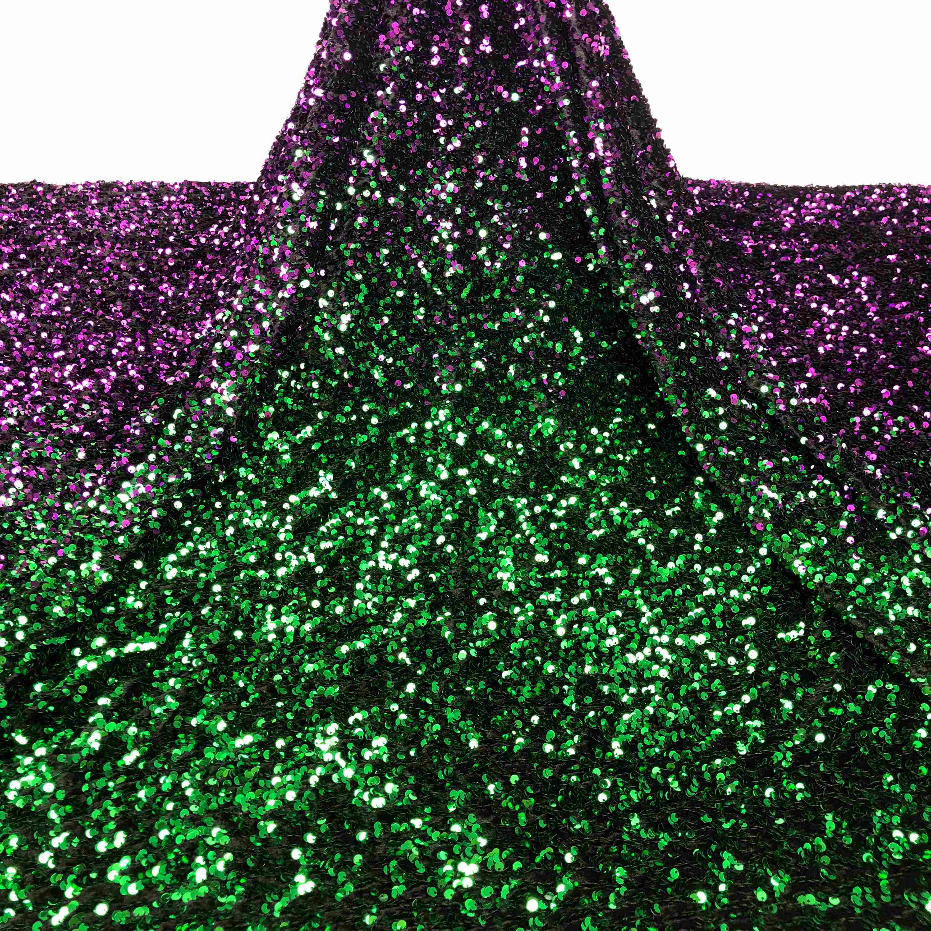 0829A Hot 5 mm sequin gradient two-color stretch velvet fabric sparkly party embroidery lace sequin fabric