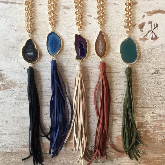 LS-D3978 Wholesale Handmade Boho Fashion Jewelry Gold Plated Chain Agate Slice Pendant Leather Tassel Necklaces