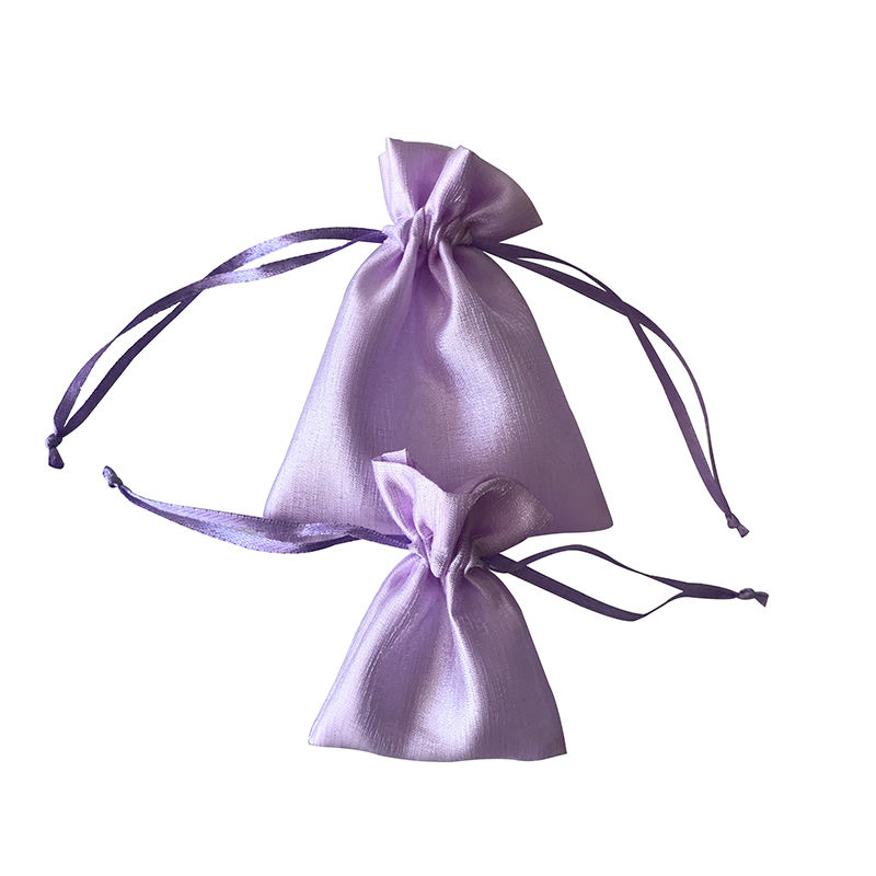 Customized Sizes Purple Organza Drawstring Pouches Silk Small Gift Bags For Eyelashes