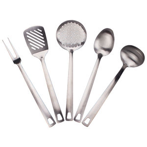Hot Selling Stainless Steel Satin Finish 5pcs Kitchen Utensils Set Cookware Fork Spatula Skimmer Spoon Ladle