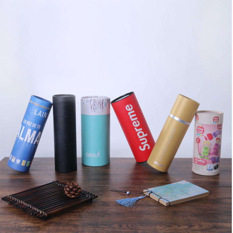 Custom Biodegradable Craft Perfume Bottle Packaging Cardboard Cylinder Round Paper Boxes With Eva Insert