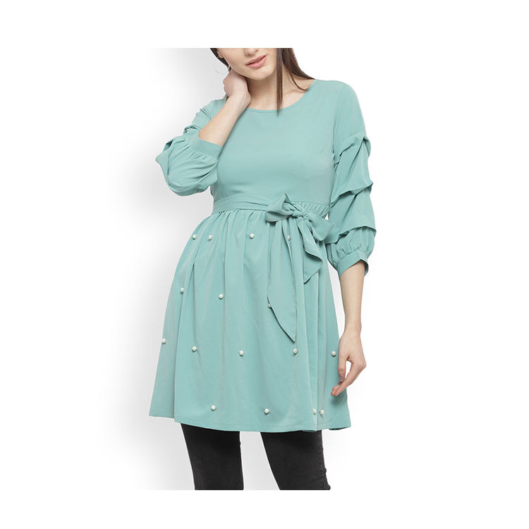 Women clothes sexy Sea Green Solid Cinched Empire Waist Tops plus size & Sexy Girl Clothes