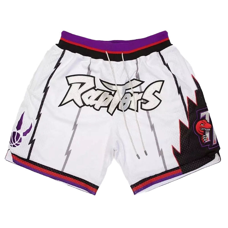 Custom logo dry retro fit sweat old school toronto vintage raptors pockets polyester white mesh just mens don basketball shorts
