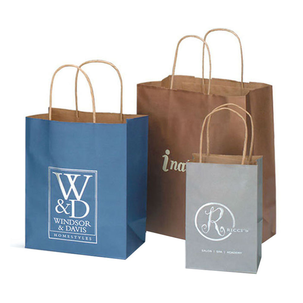 Wholesale Recyclable Brown Kraft Paper Material Packaging Cloth Custom Print Bags